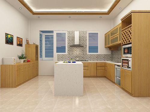 Gạch ốp phòng bếp Đồng tâm tạo không gian ấm cúng