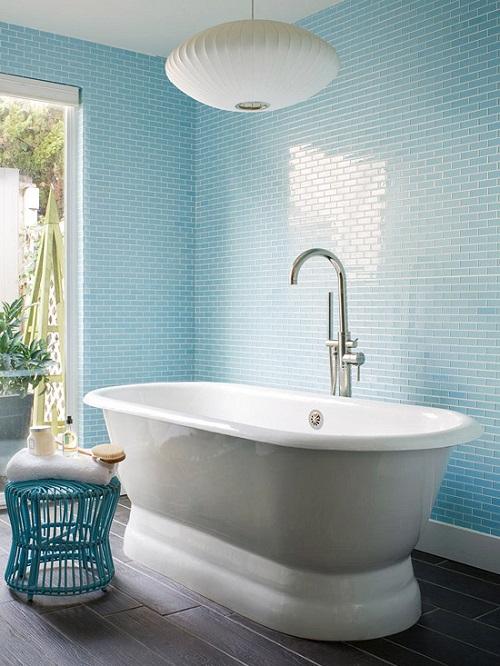 Ý tưởng thiết kế: Tường màu xanh nên lát gạch màu gì cho đẹp mắt?