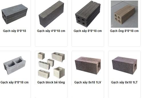 kích thước các loại gạch xây dựng