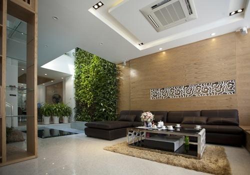 Phối màu gạch ốp tường phòng khách nghịch tông