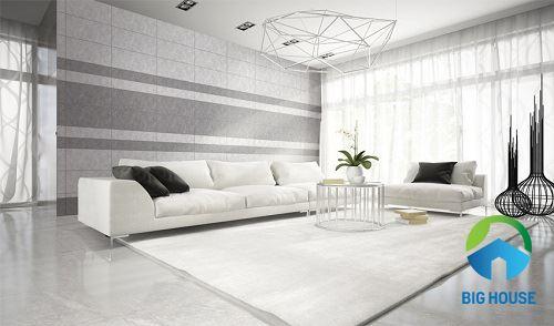 Cách phối màu gạch ốp tường và lát nền phòng khách ấn tượng